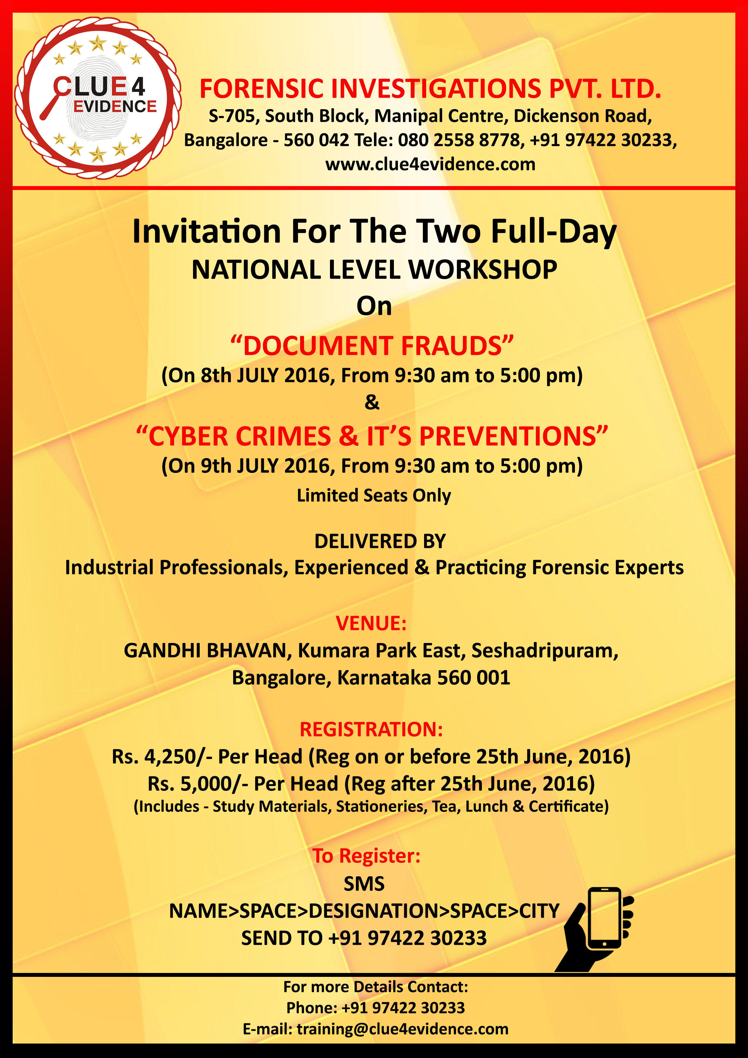 Clue 4 Evidence's Workshop on Documents Frauds & Cyber Crimes & It's Preventions