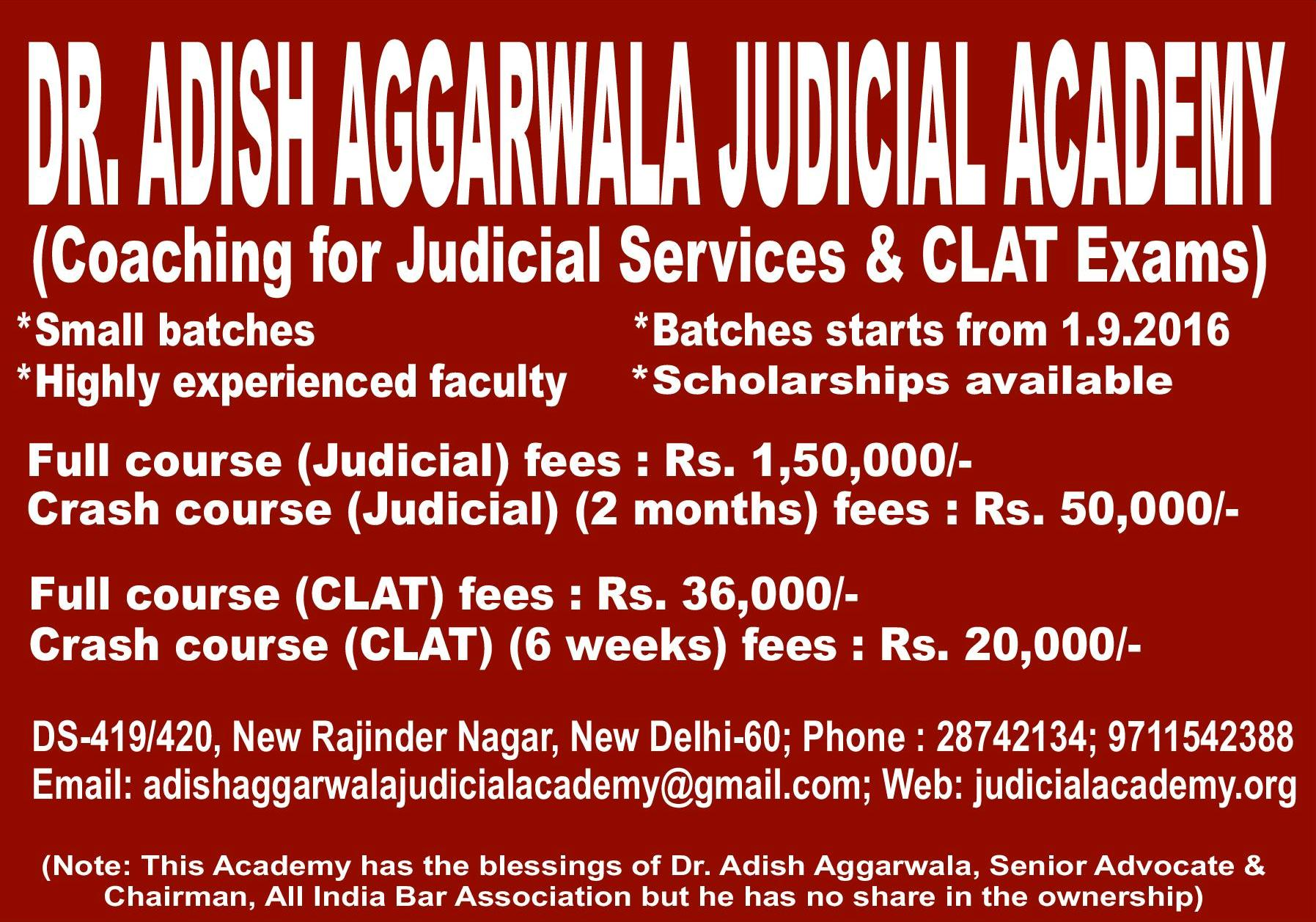 JOB POST: Teaching Faculty @ Dr. Adish Aggarwala Judicial Academy Delhi