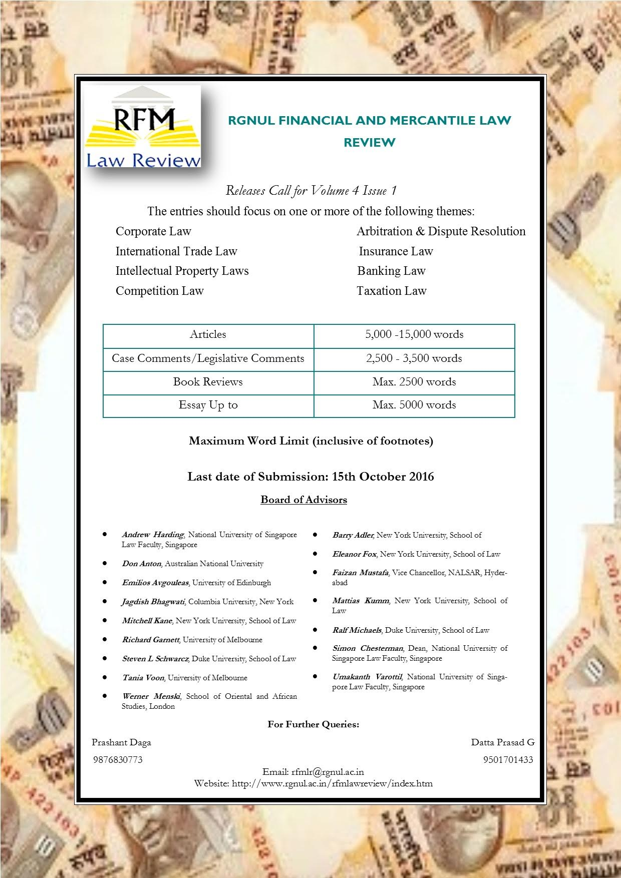 rgnul research paper call for papers rgnul financial and mercantile law review lawctopus