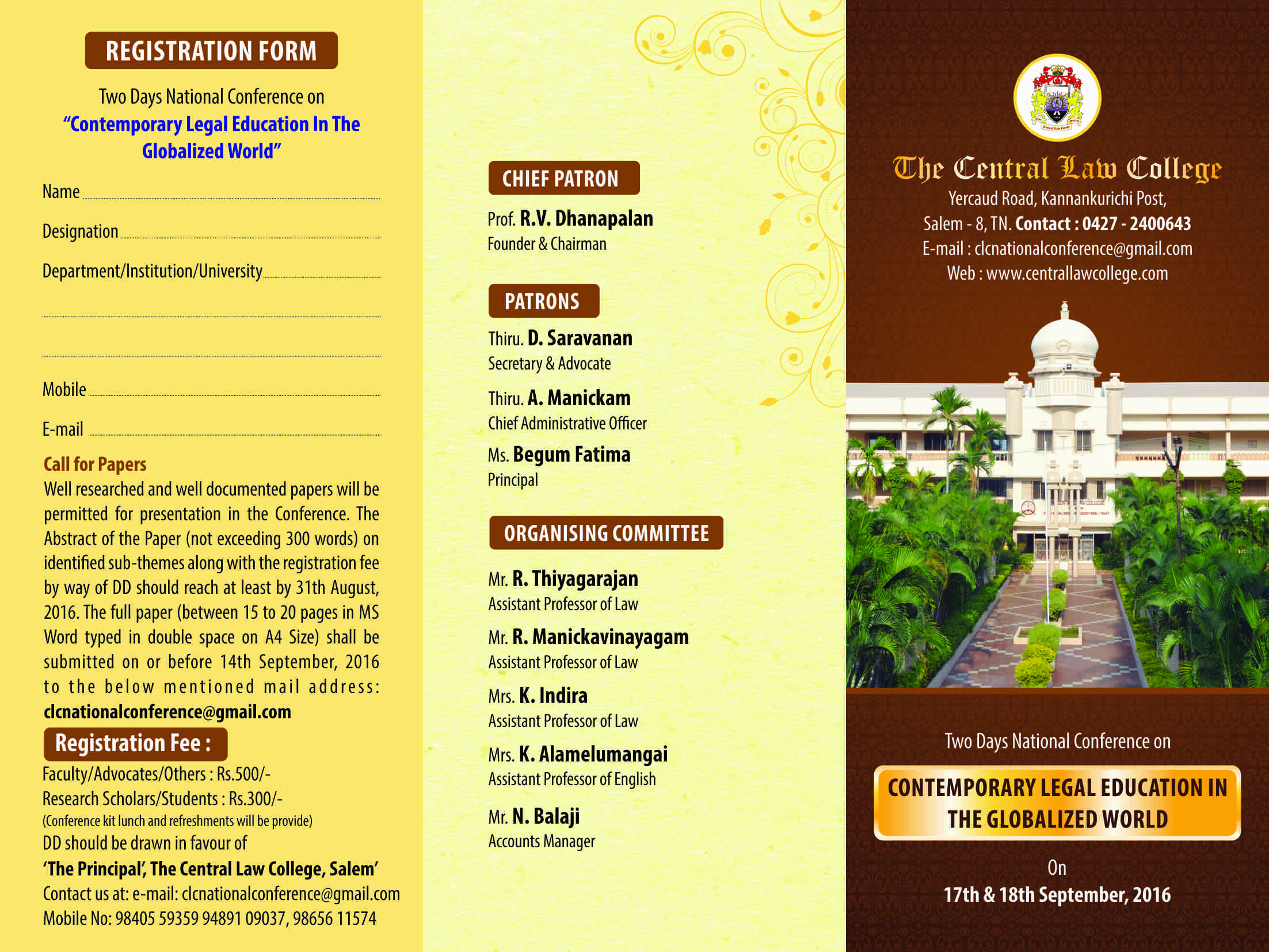 Call for Papers: Central Law College National Conference on Contemporary Legal Education in the Globalized World
