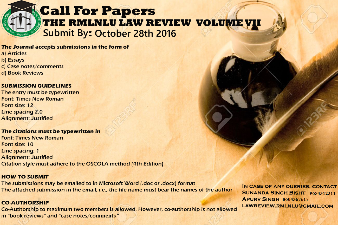 Call for Papers: RMLNLU Law Review