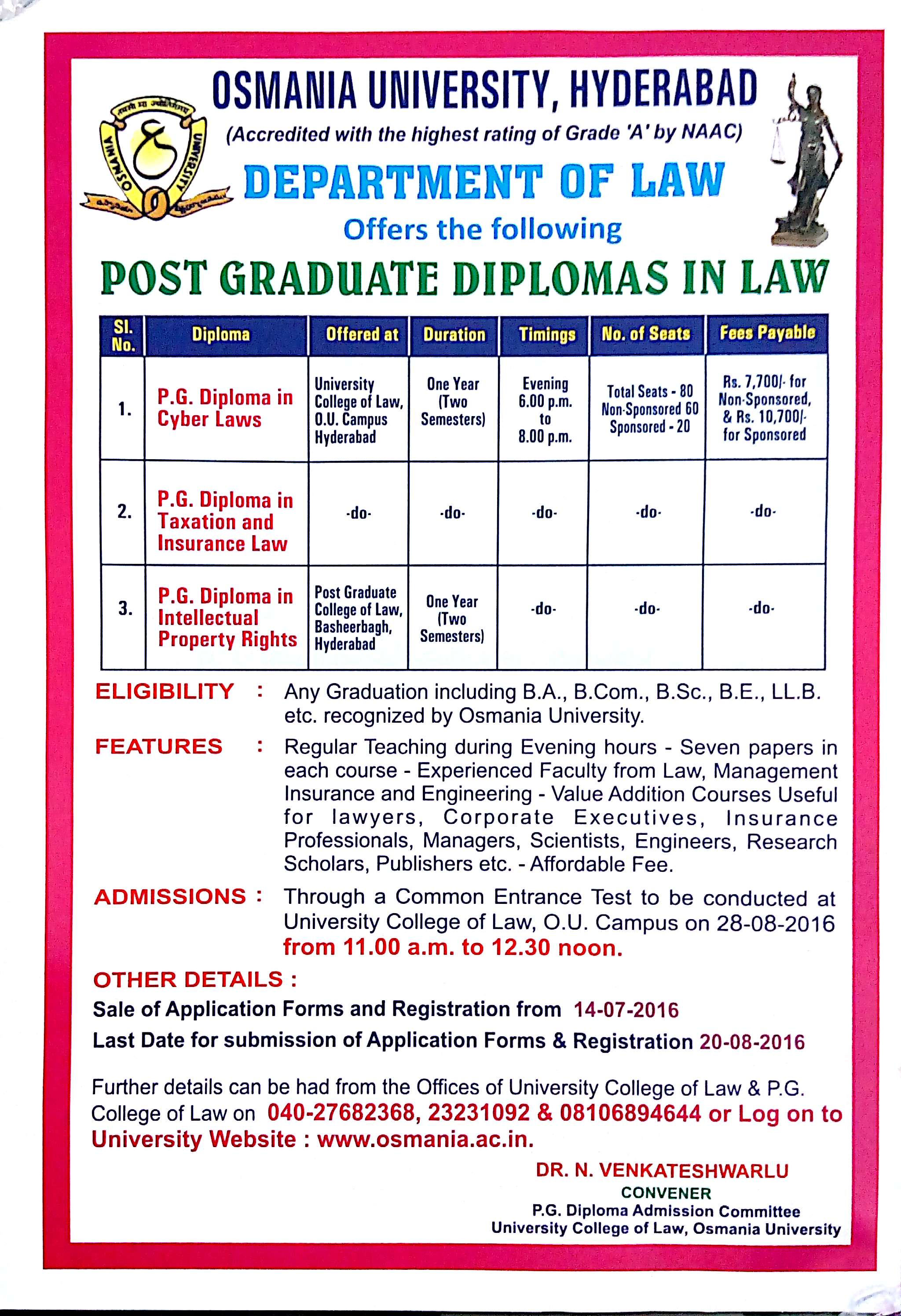 Osmania University PG Diplomas in Cyber, Taxation, Insurance Laws and Intellectual Property Rights