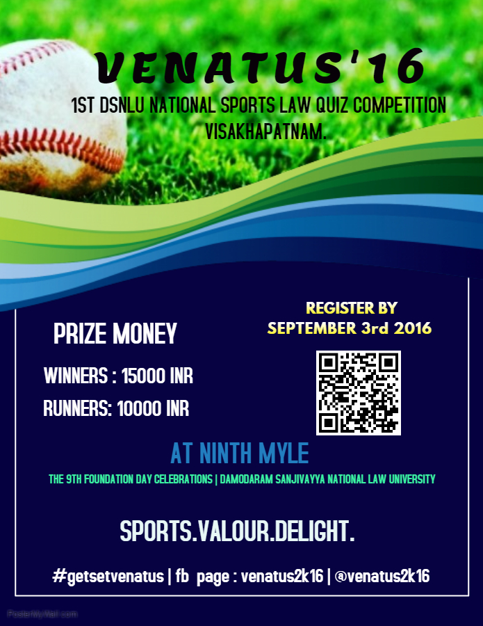 1st DSNLU National Sports Law Quiz Competition: VENATUS 2016