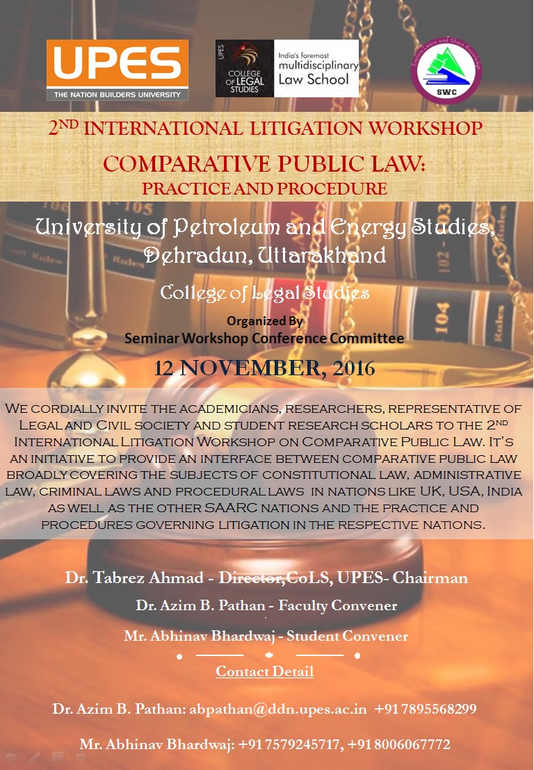 UPES 2nd International Litigation Workshop on Comparative Public Law