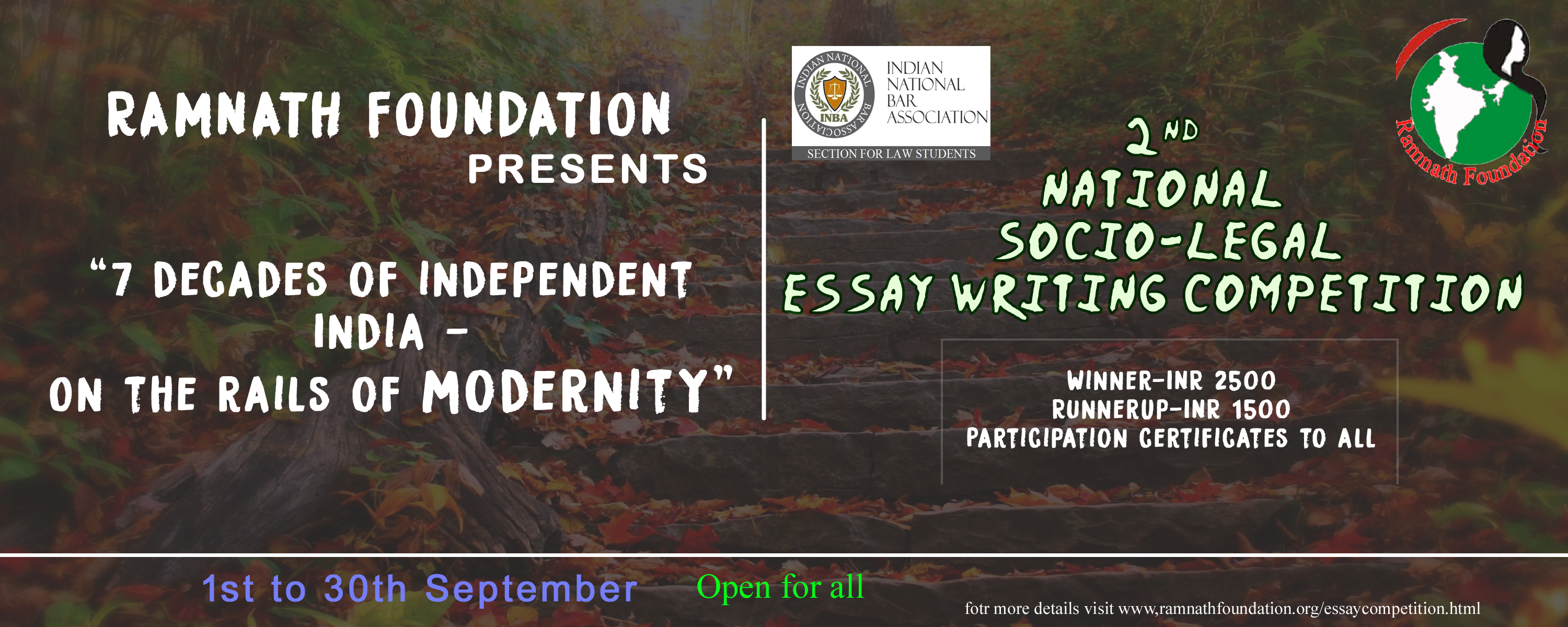 legal essay competition archives lawctopus ramnath foundation socio legal essay competition on 7 decades of independent prizes worth rs 4000 register by oct 10