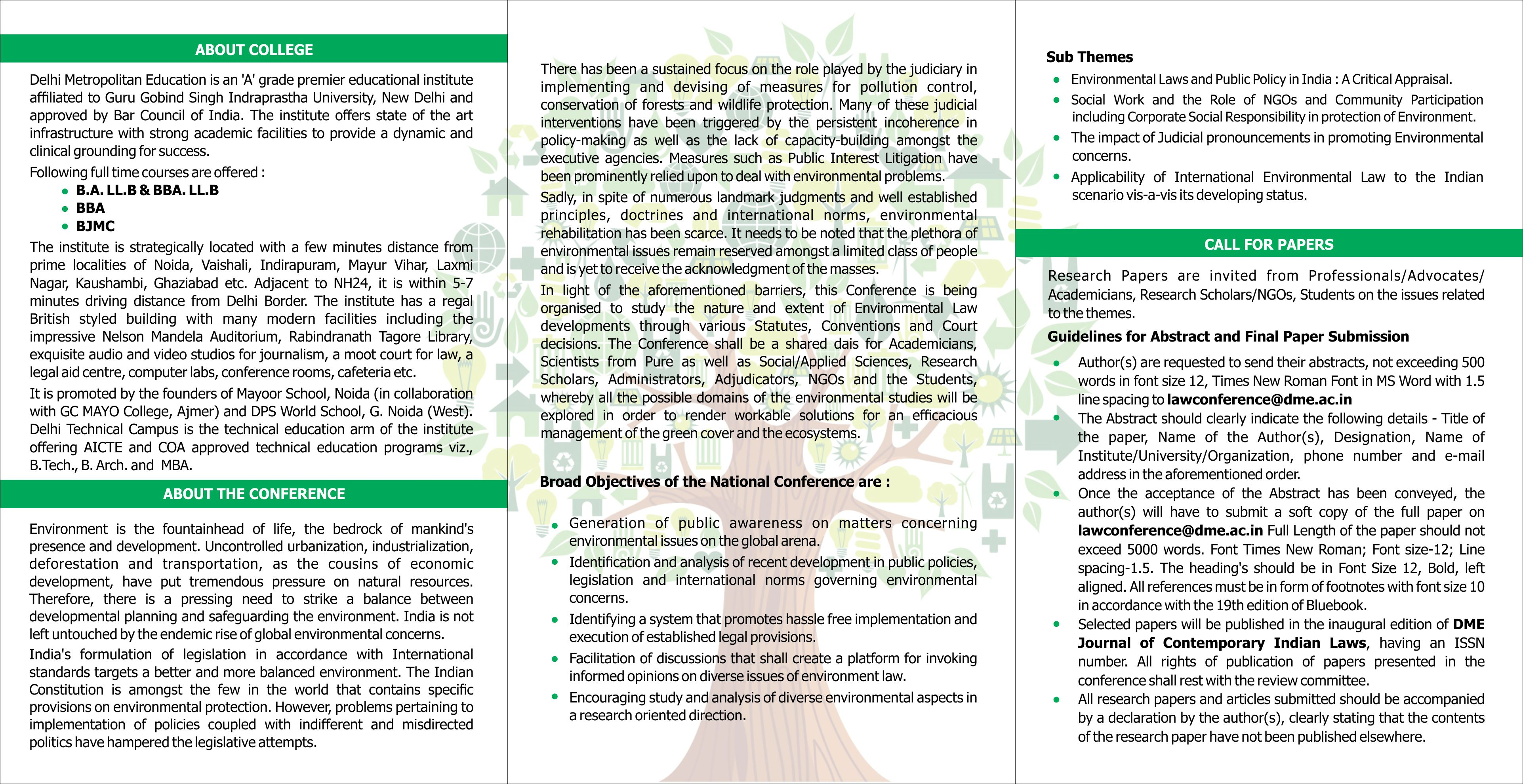 call for papers dme conference on environmental jurisprudence in dme conference on environmental jurisprudence in