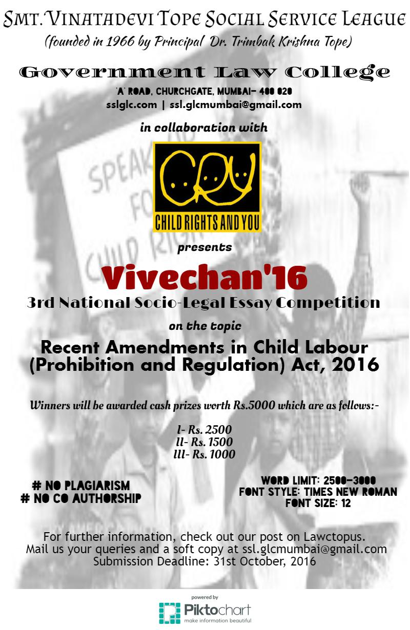 Vivechan' 16 – 3rd Socio Legal Essay Competition