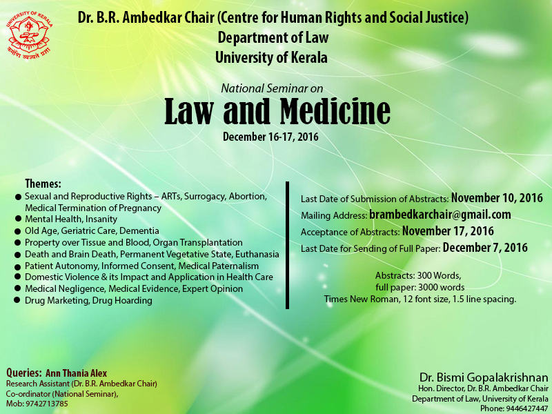 Call for Papers: Dr. BR Ambedkar Chair, Kerala University National Seminar on Law and Medicine