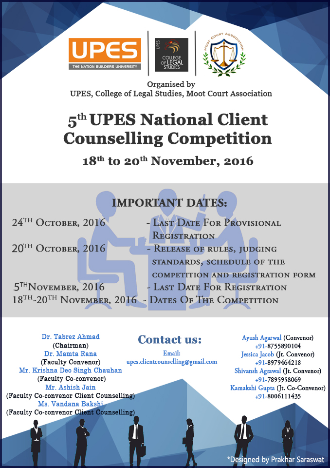 5th UPES National Client Counselling Competition 2016