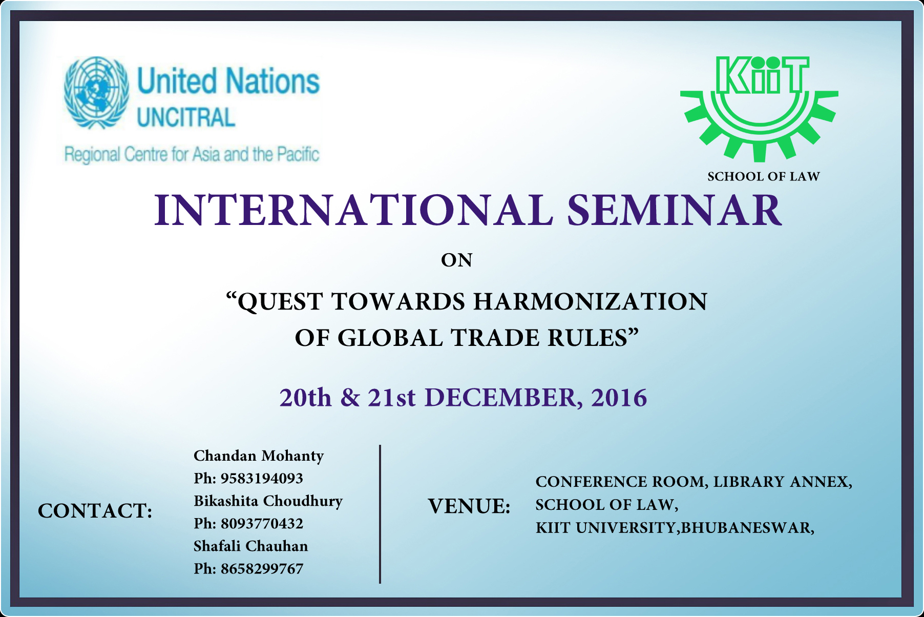 Call for Papers KIIT University International Seminar on Quest Towards Harmonization of Global Trade Rules