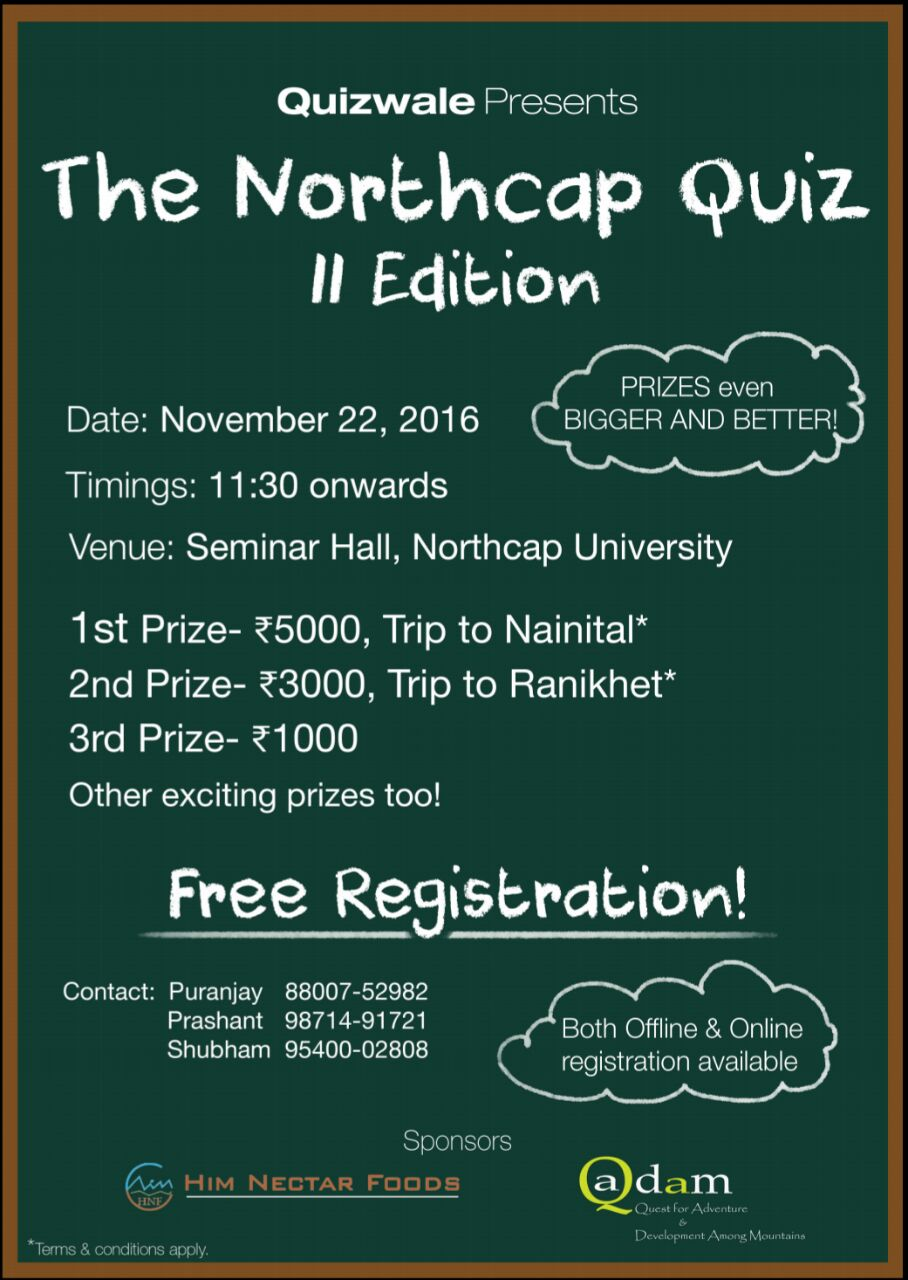 2nd NorthCap University Quiz 2016