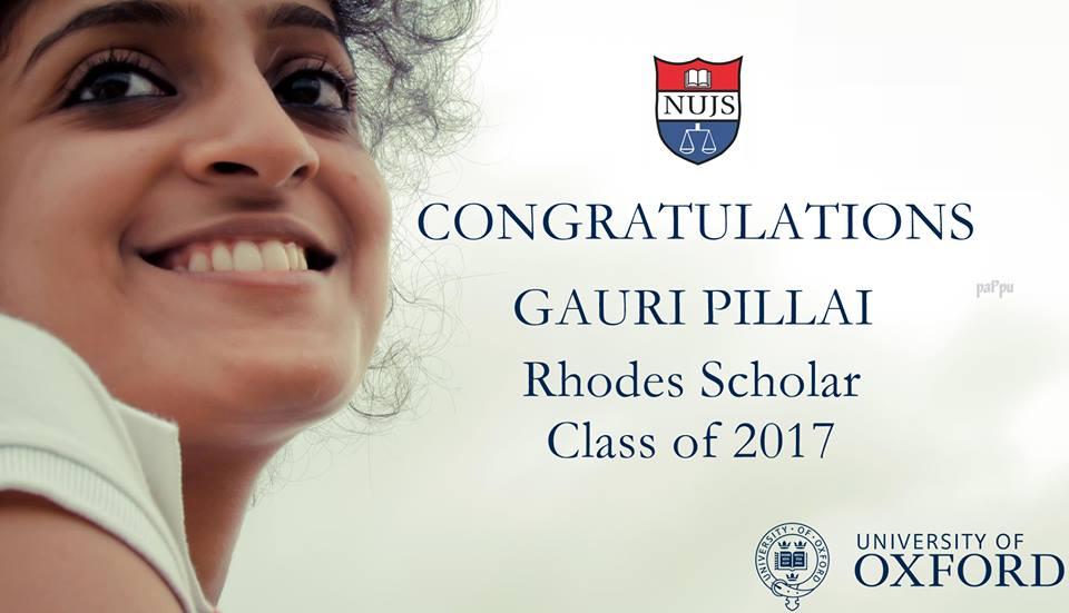 <b>Gauri Pillai</b> of NUJS Kolkata, <b>Mary Kavita Dominic</b> of NUALS Kochi & <b>Vanshaj Jain</b> of NLSIU Bangalore Win The Rhodes Scholarship