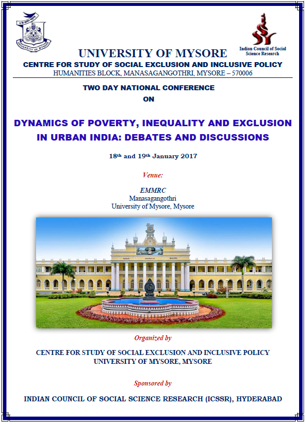 Mysore University's 2 Day National Conference on Dynamics of Poverty, Inequality and Exclusion in Urban India