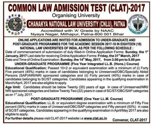 CLAT 2017, CLAT 2017 Notification