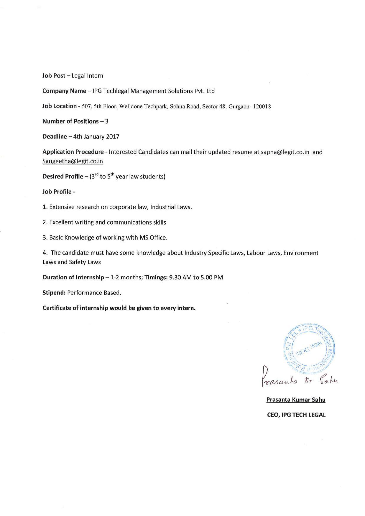 Internship IPG Techlegal, Gurgaon