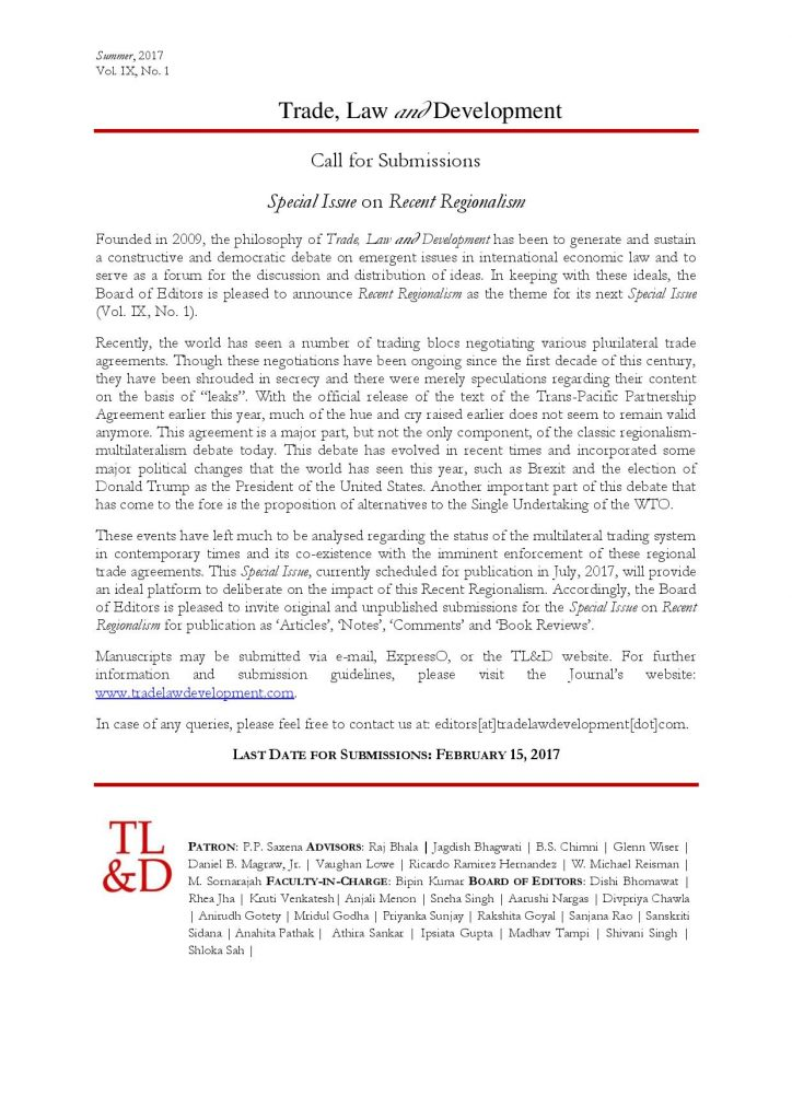 Call for Papers: Trade, Law and Development: Special Issue on Recent Regionalism