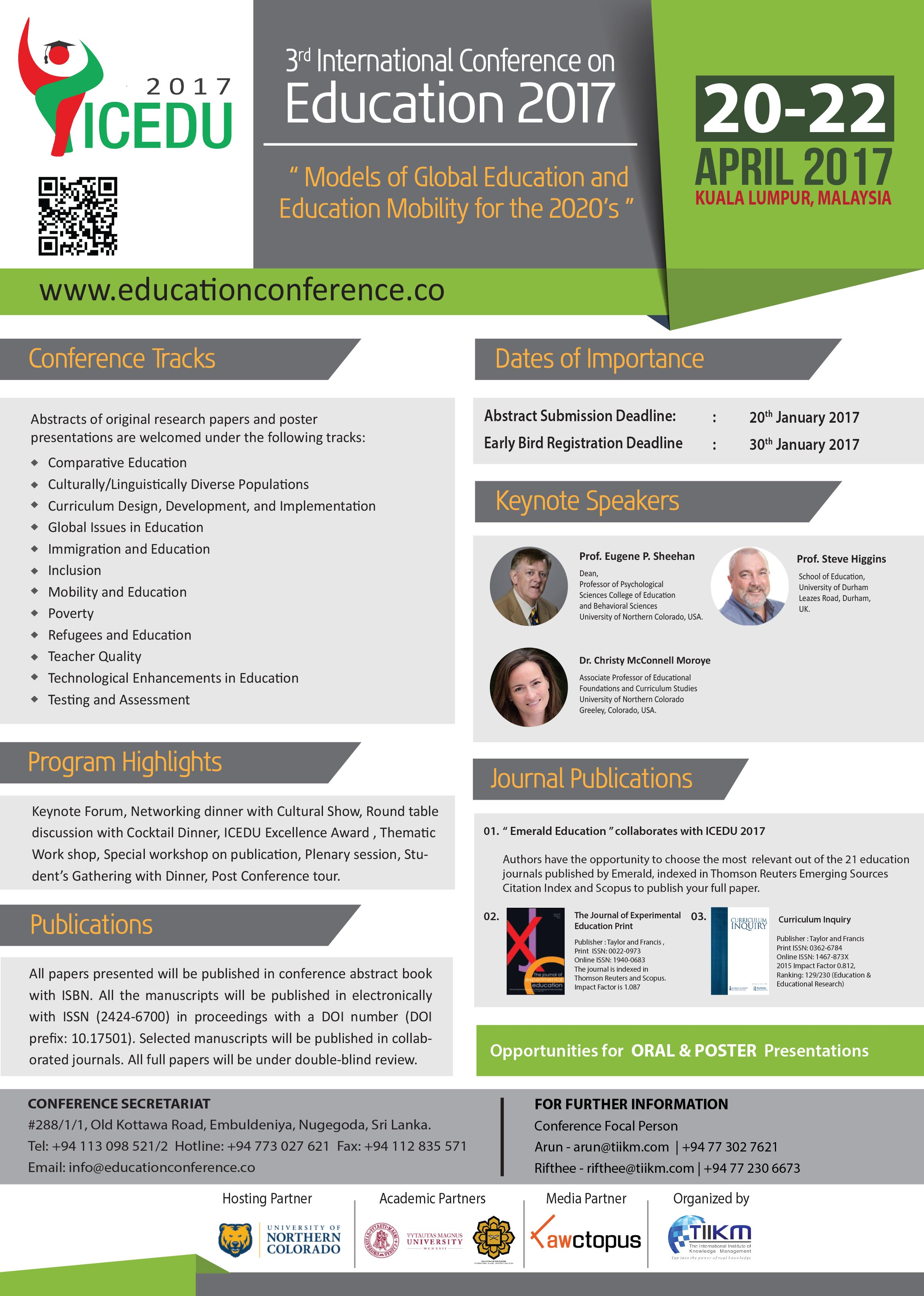 Call for Papers: 3rd International Conference on Education ICEDU 2017