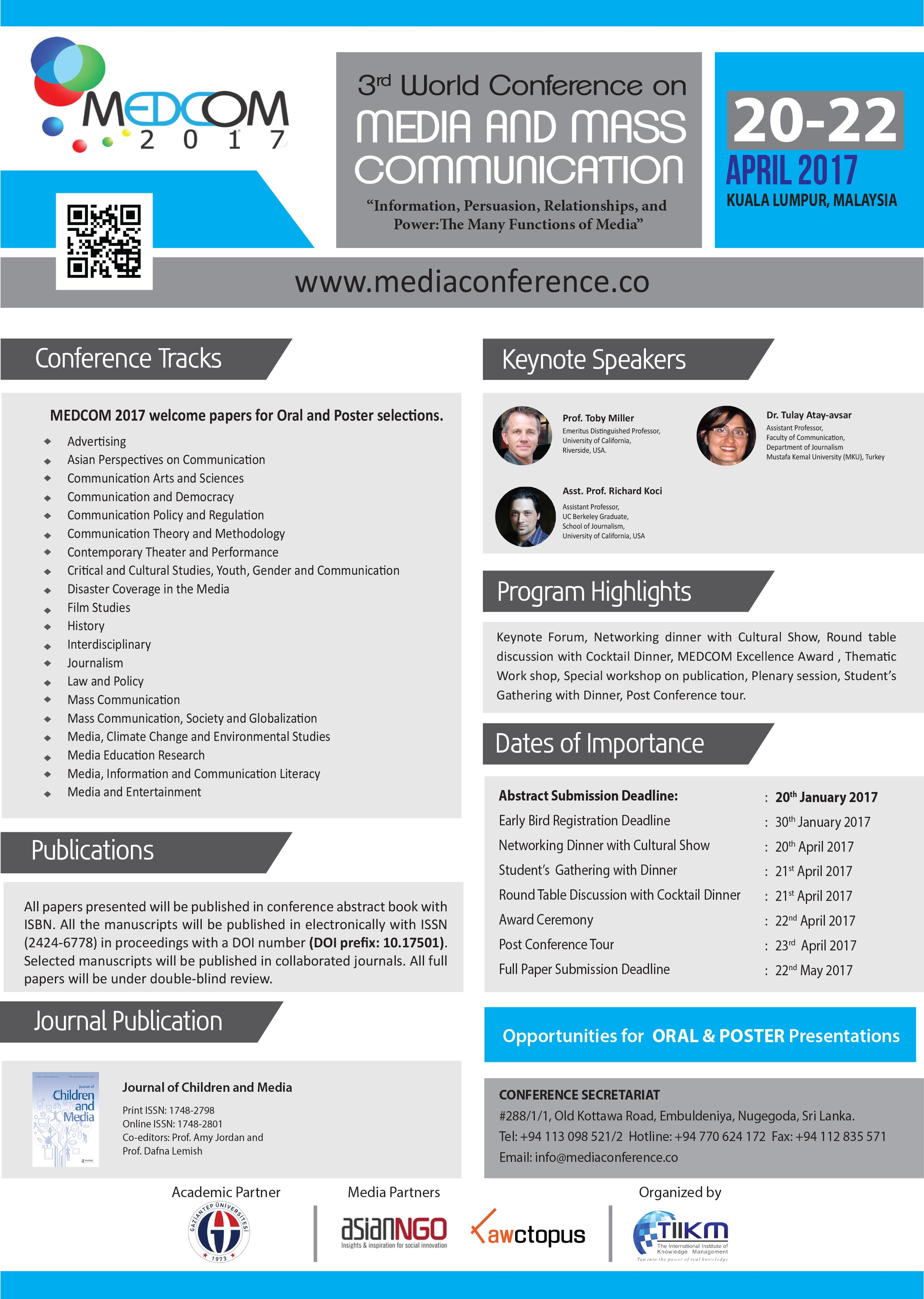 3rd World conference on Media and Mass Communication [Medcom]