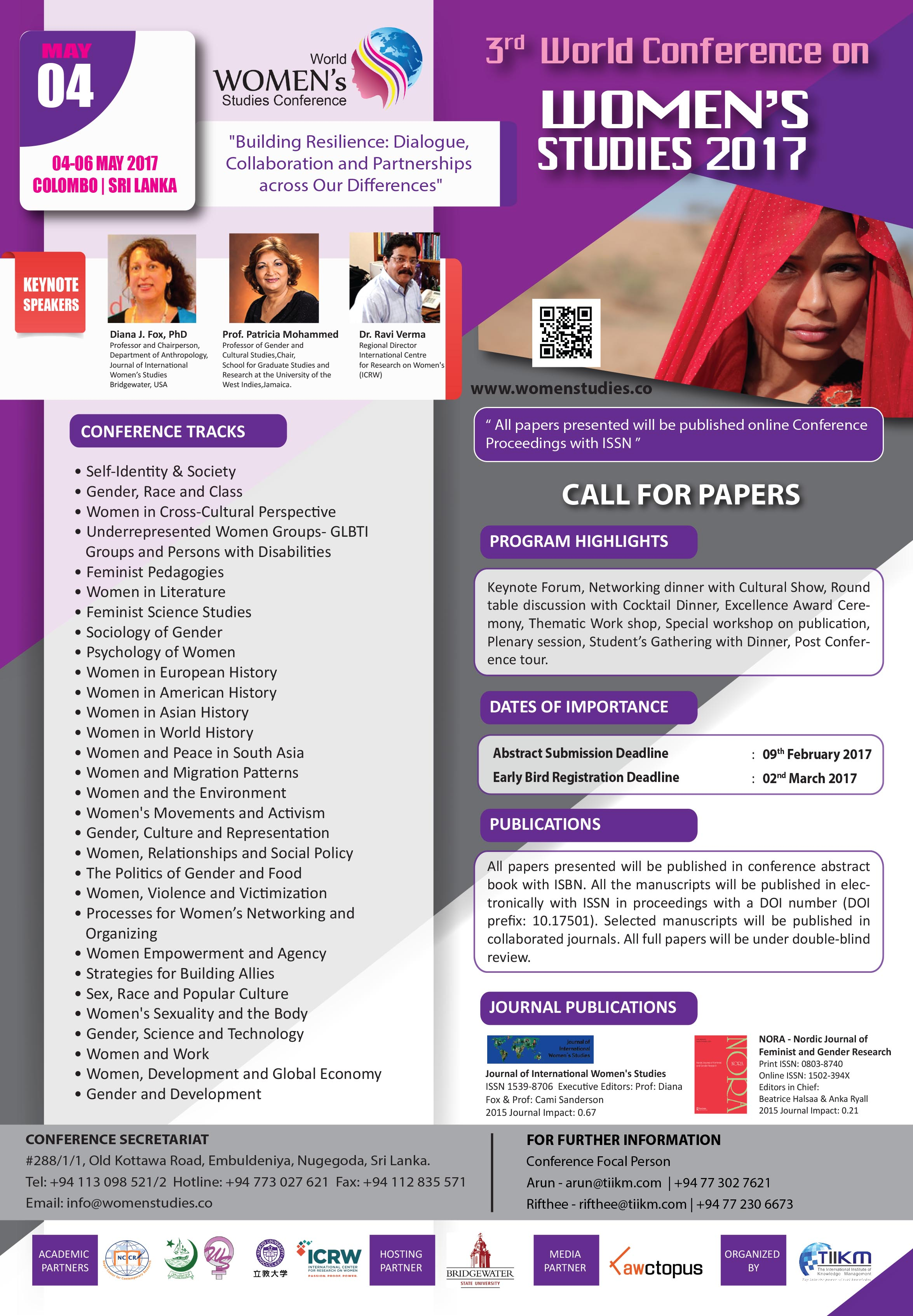 Call for Papers: 3rd World Conference on Women's Studies 2017