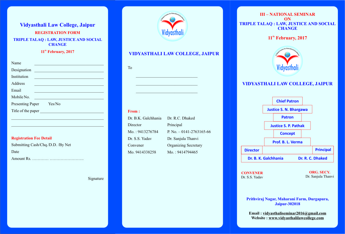 Vishyasthali Law College 3rd Seminar on Triple Talaq