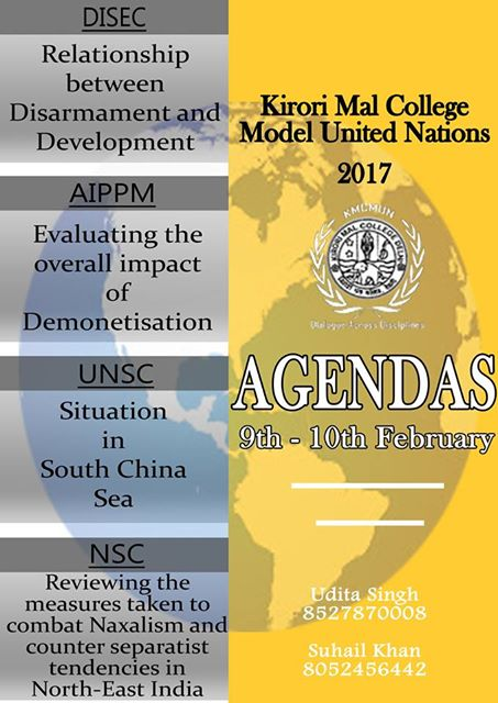 Kirori Mal College Model United Nations 2017 [9-10 Feb, Delhi]: Register Now