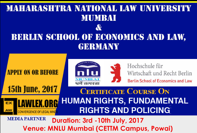 MNLU & Berlin School of Law's Certificate Course on Human Rights [July 3 - 10, Mumbai]: Register by June 5