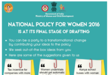 Minister For Women and Child Development's National Policy for Women Draft Inputs
