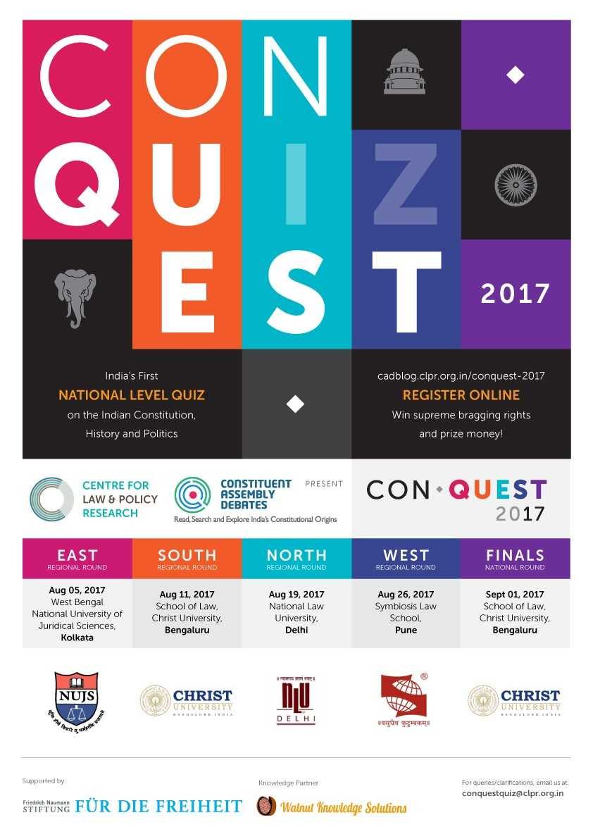 CLPR ConQuest Quiz 2017 [Prizes Worth over Rs. 1.5 lakhs]: Registration Open for all Regional Rounds