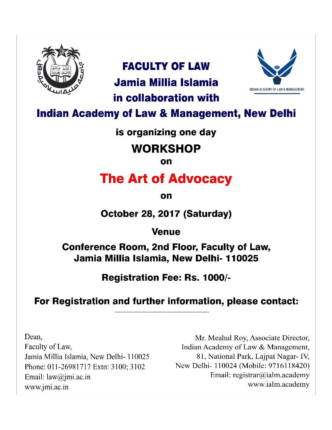 Jamia Milia Islamia's Workshop on The Art of Advocacy