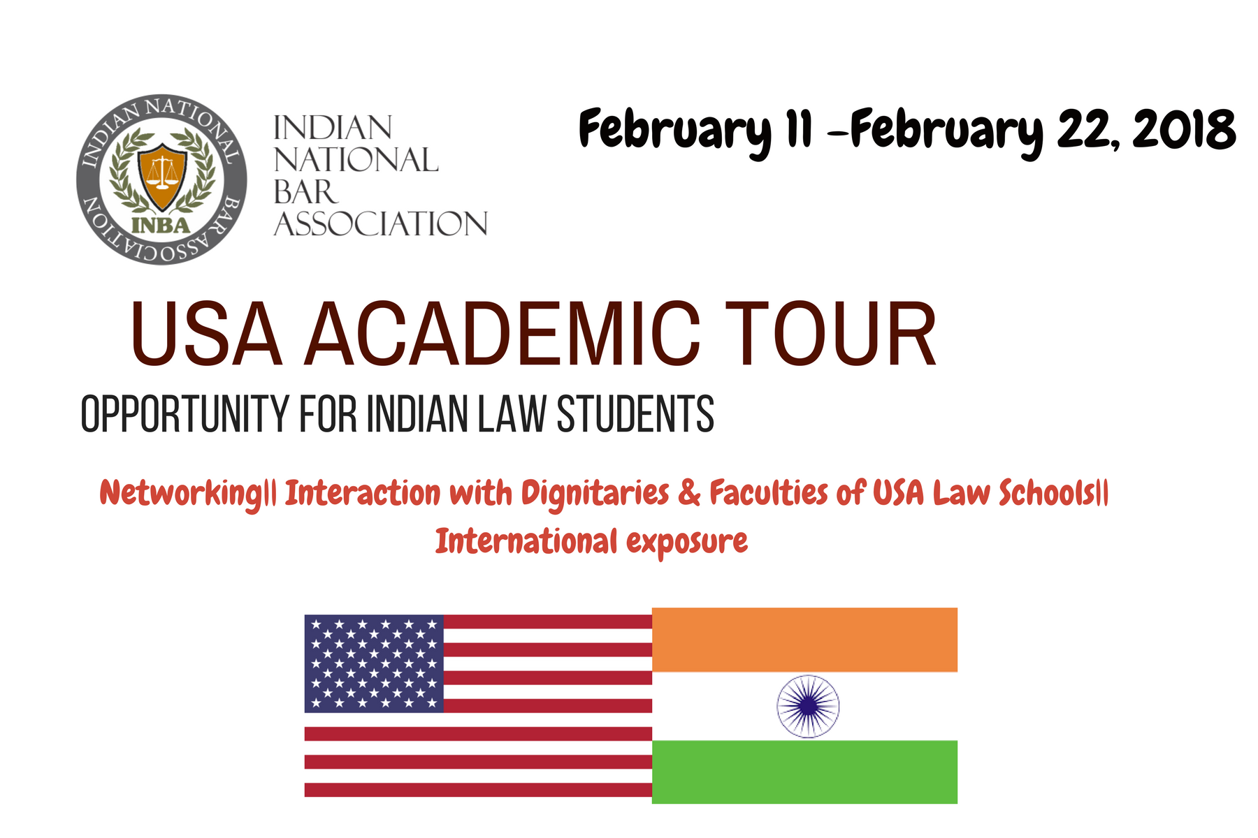 INBA Academic Tour for Indian Law Students to USA [Feb 11-22]: Apply by Dec 25