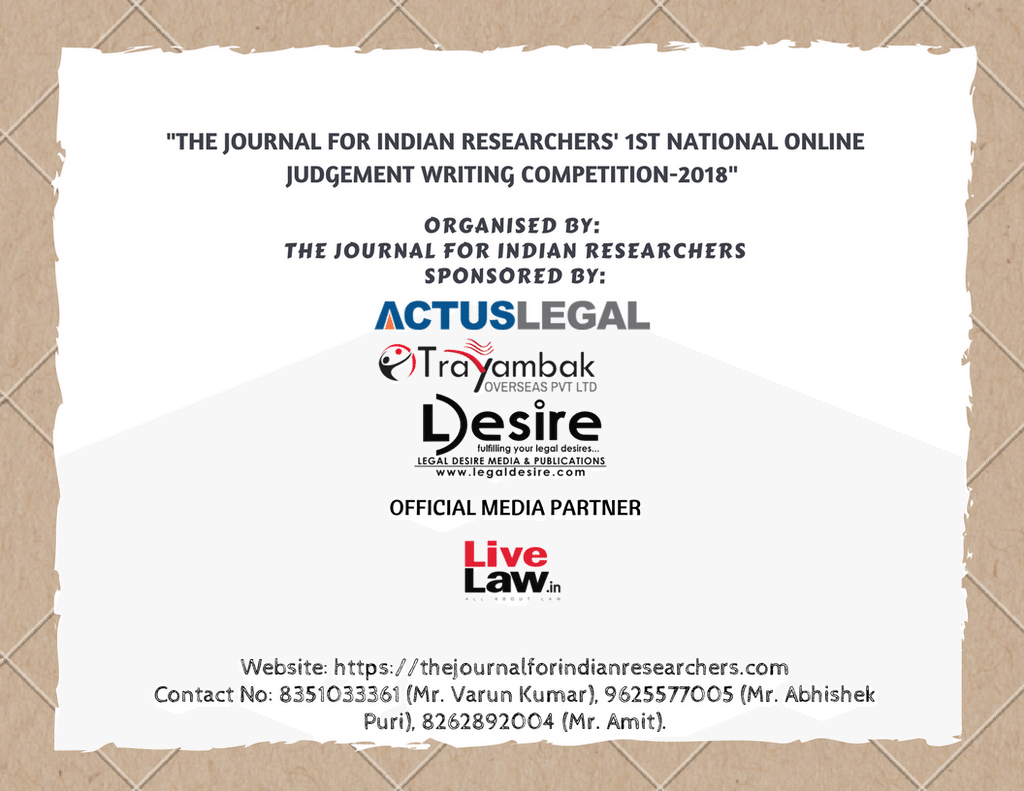 Journal Indian Researchers online judgement writing