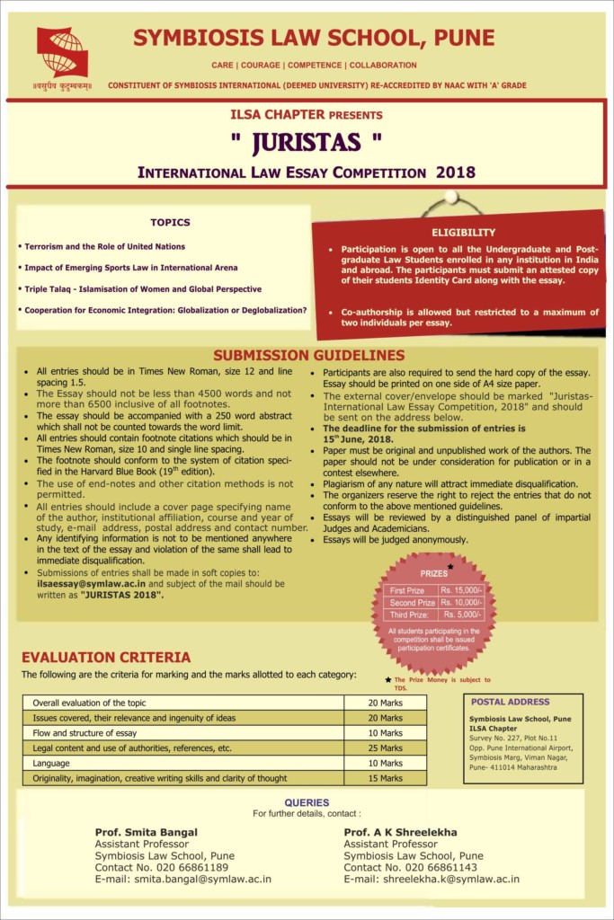 symbiosis international legal essay writing competition The indian journal of arbitration law (ijal) and the centre for advanced research and training in arbitration law (cartal) are pleased to announce the 3rd gary b born essay writing competition on int student competitions — symbiosis international legal essay the symbiosis international legal essay writing competition envisages to promote and .