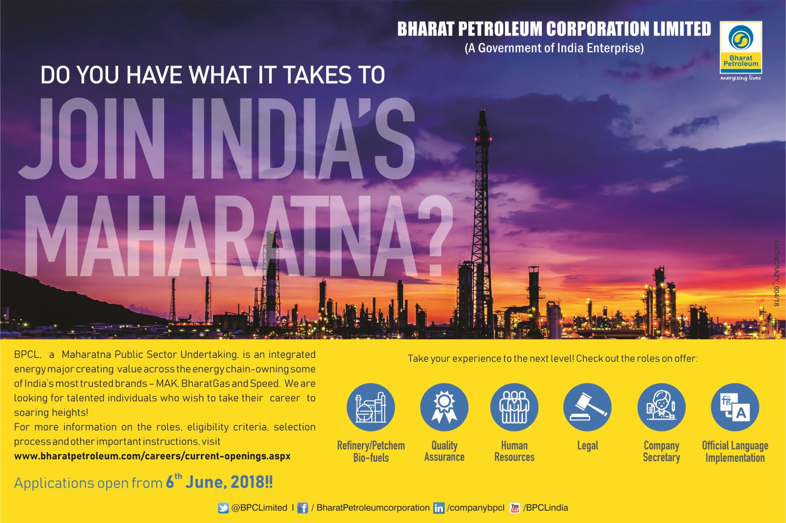 BPCL Recruitment June 2018