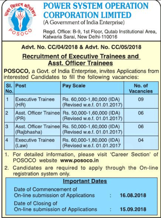 Executive trainee law POSOCO