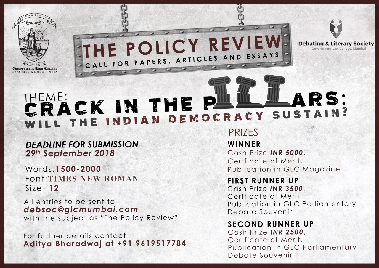 Call for Papers: GLC Mumbai's Policy Review 2018: Submit by Sep 29