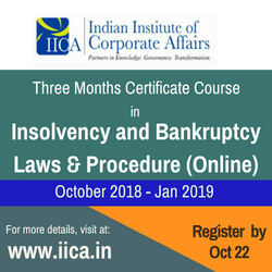 Three Months Certificate Course in Insolvency and Bankruptcy Laws & Procedure (Online)