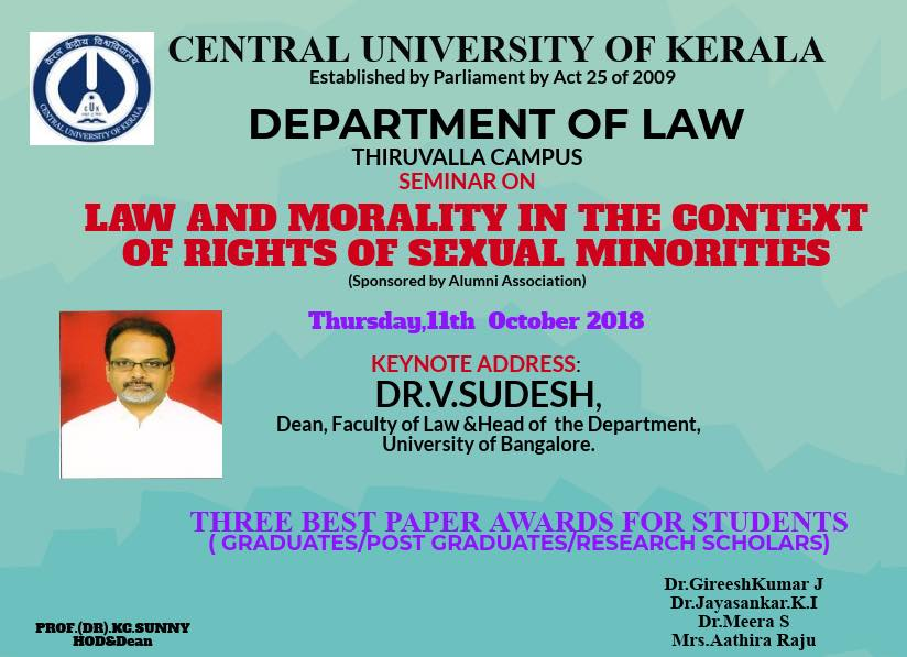 seminar law morality sexual minorities CU kerala