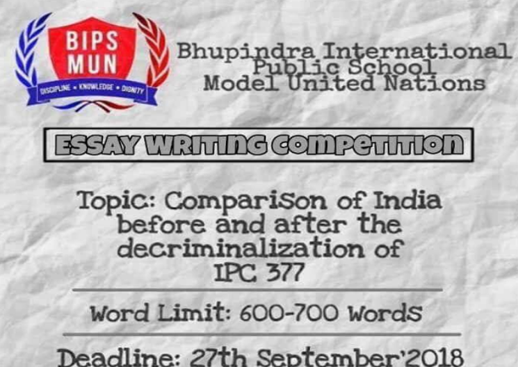Bhupindra International Public School MUN 2018 & Essay Competition [Nov 16-17, Patiala]: Submit by Sep 27