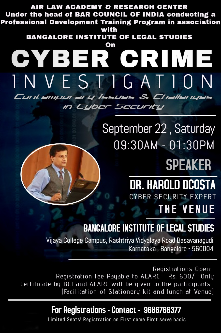 Training Program on Cyber Crime Investigation by Bangalore Institute of Legal Studies [Sep 22]: Register by Sep 18