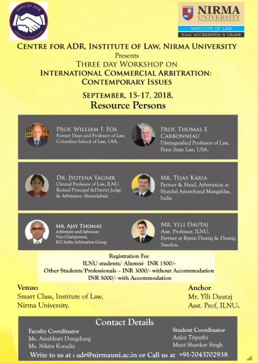 ILNU Ahmedabad workshop international arbitration