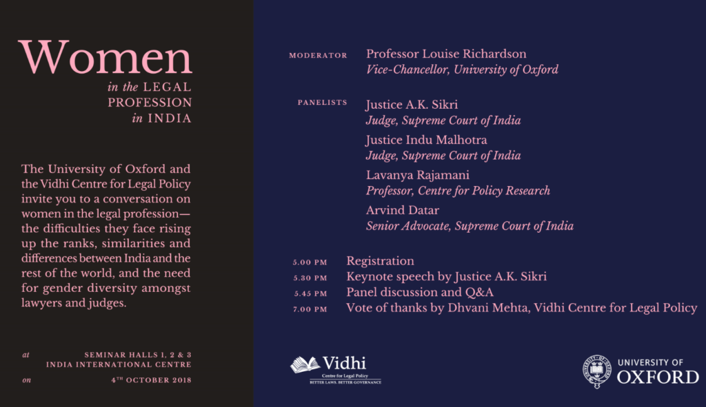 Panel Discussion On Women In The Legal Profession Oct 4 Delhi