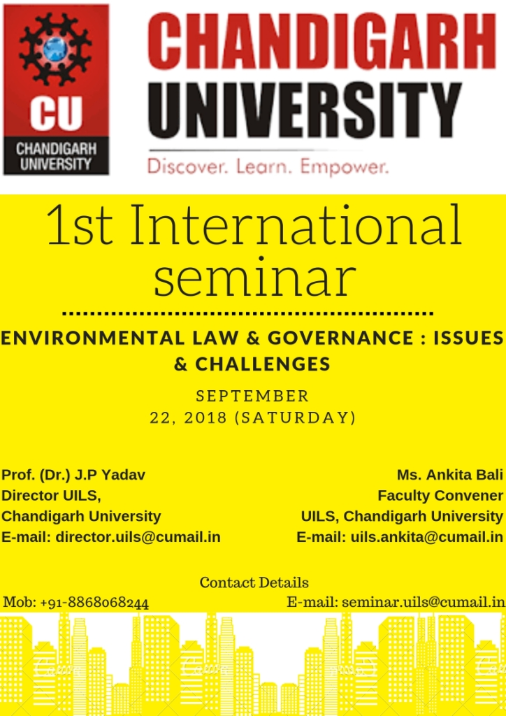 CfP: Chandigarh' University's Seminar on Environmental Law & Governance [Sep 22]: Register by Sep 5