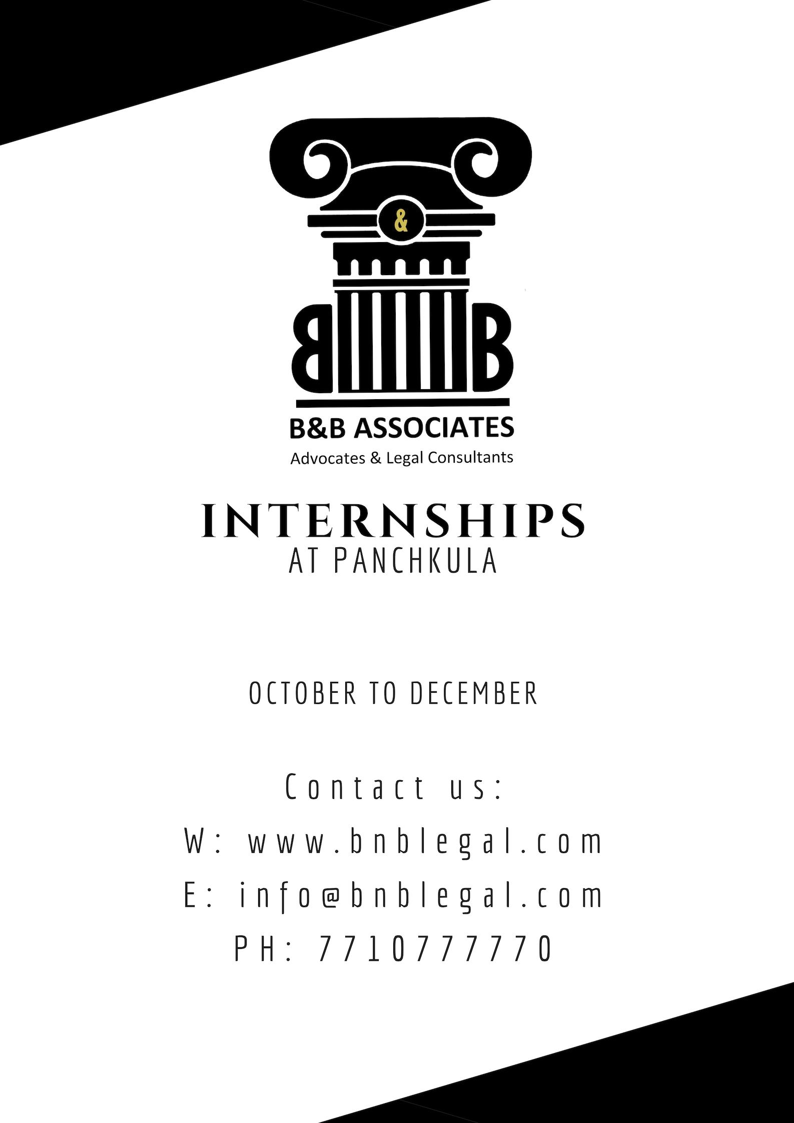 Internship Opportunity @ B & B Associates LLP, Panchkula [Chandigarh, Haryana]