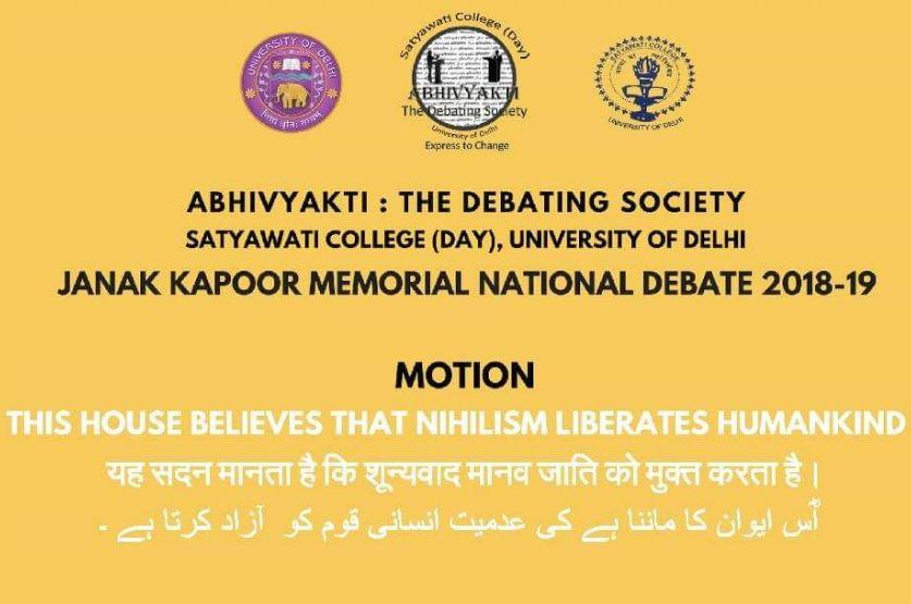 Janak Kapoor Memorial National Trilingual Debate @ Satyawati College, University of Delhi [Nov 1]: Prizes Worth Rs. 23K; Registrations Open