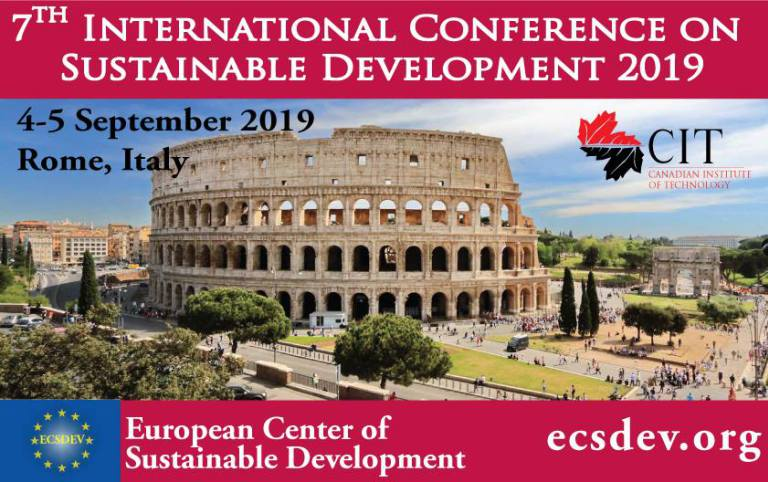 Call for Papers: 7th International Conference on Sustainable Development [Sept 4-5, 2019, Rome]: Submit by June 10