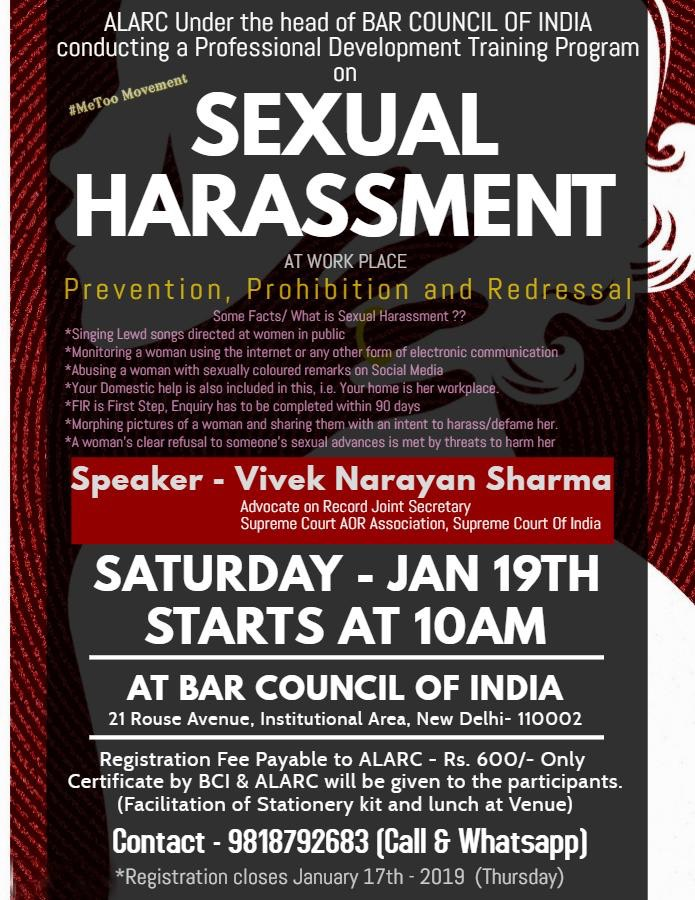 BCI – ALARC training Sexual Harassment at Workplace