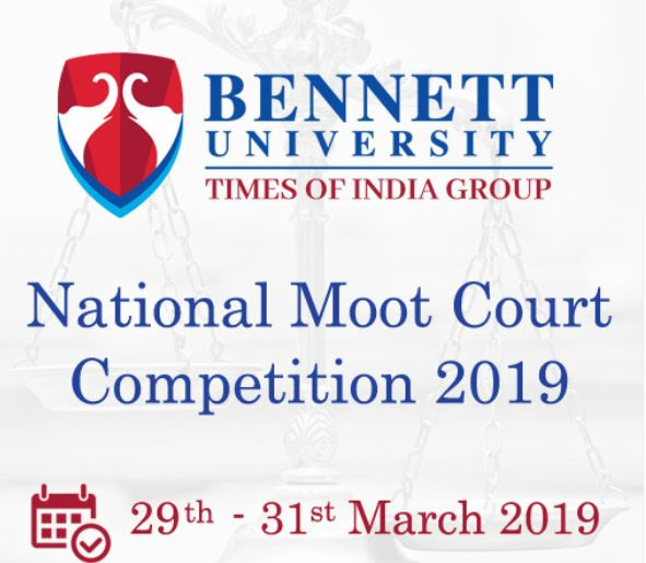 Bennett University National Moot Court Competition 2019 [March 29-31, Noida]: Register by Feb 15