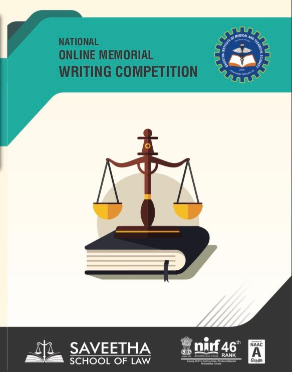 Online Memorial Writing Competition 2019 by Saveetha School of Law, Chennai: Register by Feb 10