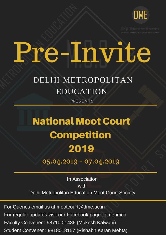 Pre-Invite: 3rd National Moot Court @ Delhi Metropolitan Education [April 5-7]