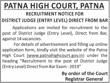 Patna High Court District Judge Recruitment 2019